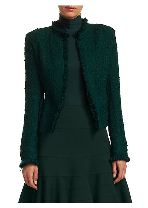 Image of Cut from Italian wool, this short tweed jacket has a fitted silhouette and open front with a statement fringe piping trim. Roundneck. Long sleeves. Open front. Slash pockets. Fringe piping. Wool/polyester/acrylic. Lined. Dry clean. Imported of Italian fab