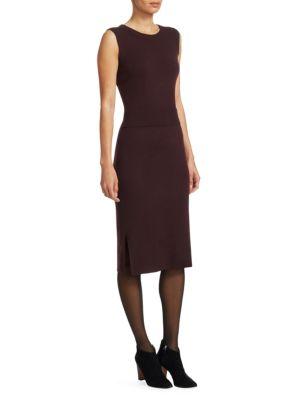 Cashmere-Blend Trompe L'Oeil Dress in Black Cherry
