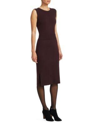 Cashmere-Blend Trompe L'Oeil Dress, Black Cherry