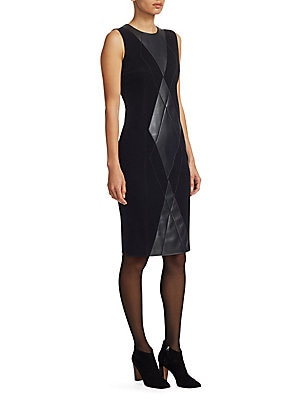 Image of A blown-up argyle pattern, crafted from leather with ball chain trim, runs down the front of this houndstooth print velvet dress. A sleeveless sheath silhouette hits right above the knee, making for a versatile piece. Roundneck Sleeveless Concealed back z
