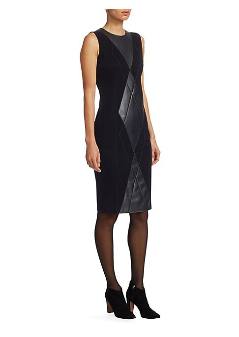 Image of A blown-up argyle pattern, crafted from leather with ball chain trim, runs down the front of this houndstooth print velvet dress. A sleeveless sheath silhouette hits right above the knee, making for a versatile piece. Roundneck. Sleeveless. Concealed back
