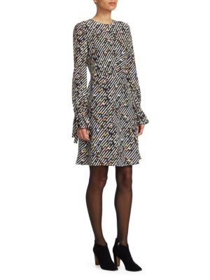 AKRIS PUNTO Long-Sleeve Crossroad-Print A-Line Knee-Length Dress in Black Multi