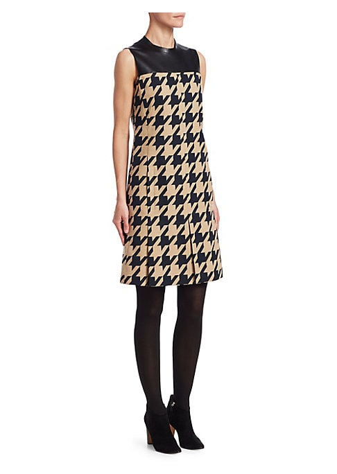 Image of A blown-up houndstooth check skips across most of this sleeveless dress, with a leather panel framing the neckline. Oversized pleats in the skirt add to the modish feel of the garment. Roundneck. Sleeveless. Concealed back zip closure. Waist welt pockets.