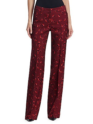 Image of High-rise seamed pants in rich wool flannel and eye-catching abstract floral print. Front facing pockets, and full-length legs leaves a stylish, classic pant silhouette. High-rise banded waist Front zip closure Front pockets Wool Dry clean Imported of Ita