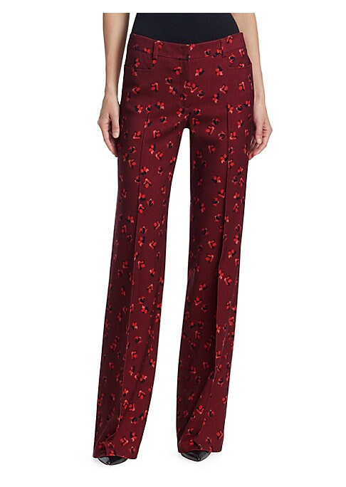 Image of High-rise seamed pants in rich wool flannel and eye-catching abstract floral print. Front facing pockets, and full-length legs leaves a stylish, classic pant silhouette. High-rise banded waist. Front zip closure. Front pockets. Wool. Lined. Dry clean. Imp