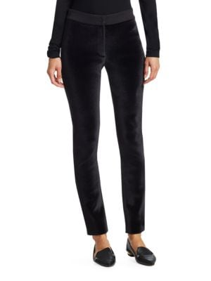 Mara Front Stretch-Knit Back Tapered-Leg Pants in Black
