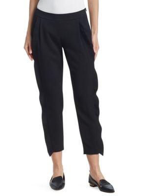 Straight-Leg Cropped Tricotine Wool Pants W/ Ruffled Tuxedo Detail, Black