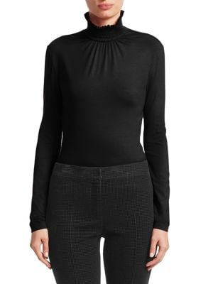 Ruffled Jersey Mockneck Top by Akris Punto