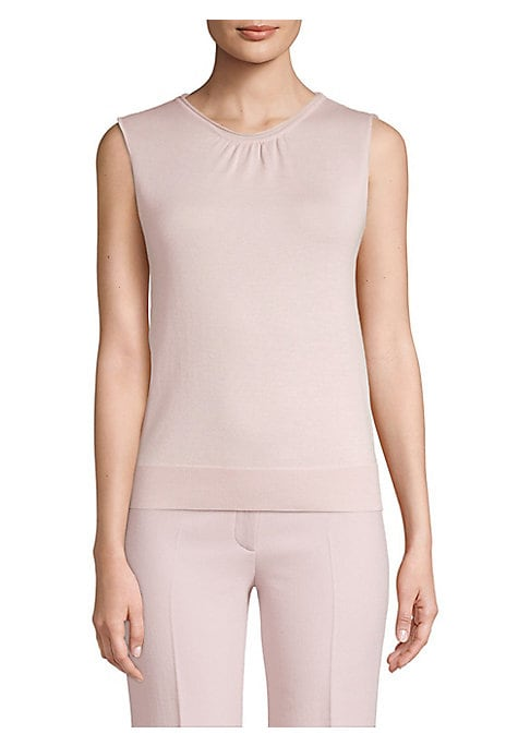 """Image of Crafted from a luxurious blend of wool, silk and cashmere, this sleeveless top is an elevated wardrobe staple. Round gathered neck. Sleeveless. Wool/silk/cashmere. Dry clean. Made in Italy. SIZE & FIT. About 25"""" from shoulder to hem. Model shown is 5'10"""""""