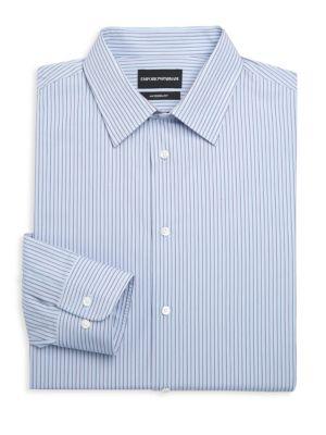 Emporio Armani Modern Fit Cotton Striped Dress Shirt