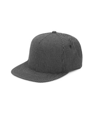 GENTS Chairman Check-Print Baseball Cap in Black