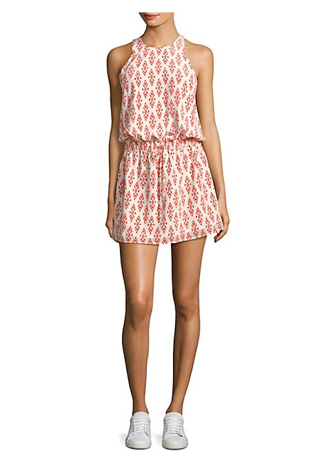 "Image of Casual mini dress with bright allover ikat print. Halterneck. Sleeveless. Keyhole button back. Drawstring elasticized waist. Easy fit. About 35"" from shoulder to hem. Silk. Dry clean. Imported. Model shown is 5'10"" (177cm) wearing US size Small."