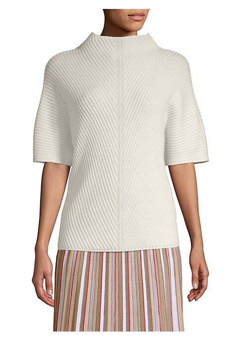 """Image of Designed with a soft yet structured silhouette, this luxe Italian cashmere pullover features diagonal rib-knit texture. Mockneck. Short sleeves. Cashmere. Dry clean. Made in Italy. SIZE & FIT. About 26"""" from shoulder to hem. Model shown is 5'10"""" (177cm) w"""