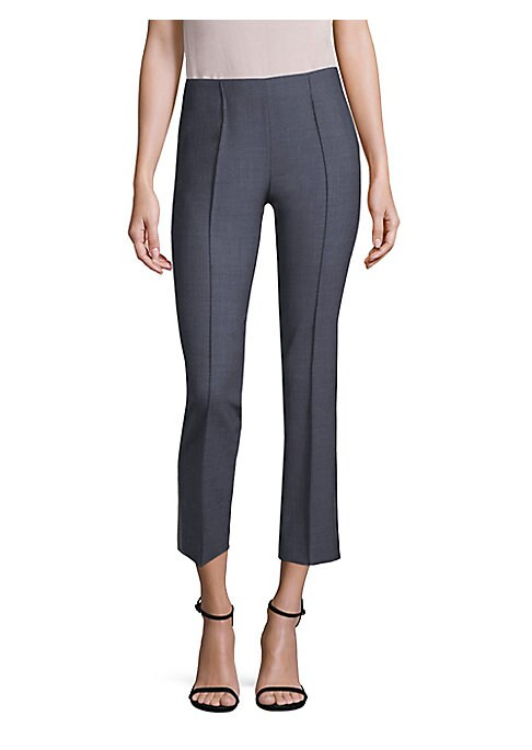 """Image of Cut to a cropped length, these cotton and wool blend pants offer streamlined style. Side zip closure. Stretch cotton lining. Polyester/wool/elastane. Dry clean. Made in Italy. SIZE & FIT. Model shown is 5'10"""" (177cm) wearing US size 4."""