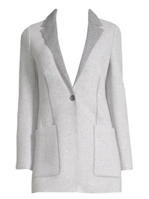 AGNONA Notched-Lapel One-Button Cashmere Jacket in Grey