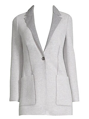 "Image of Designed with two-tone styling and shaping darts, this cardigan-blazer hybrid is crafted from 100% cashmere jersey, exclusive to Agnona. Notch collar Long sleeves Button front Waist patch pockets Cashmere Dry clean Made in Italy SIZE & FIT About 28"" from"