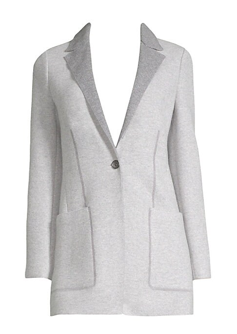 Image of Designed with two-tone styling and shaping darts, this cardigan-blazer hybrid is crafted from 100% cashmere jersey, exclusive to Agnona. Notch collar. Long sleeves. Button front. Waist patch pockets. Cashmere. Dry clean. Made in Italy. SIZE & FIT. About 2