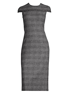 Image of Finished with a unique cap-sleeve yoke, this fitted sheath dress is cut from finely woven tweed with subtle check pattern. Roundneck Cap sleeves Back zip closure Back vent Rayon-cupro stretch lining Alpaca/wool/polyamid/cashmere Piping: Wool/mohair Dry cl
