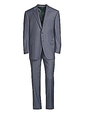 Image of A subtle checker pattern enhances this streamlined, luxe wool suit. JACKET Notch lapels Long sleeves Button cuffs Button front Chest welt pocket Waist flap pockets Dual back vents PANTS Flat front style Zip fly Side pockets Back welt pockets Unfinished he