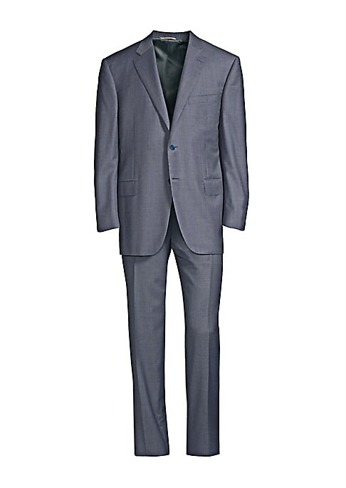 Image of A subtle checker pattern enhances this streamlined, luxe wool suit. JACKET. Notch lapels. Long sleeves. Button cuffs. Button front. Chest welt pocket. Waist flap pockets. Dual back vents. PANTS. Flat front style. Zip fly. Side pockets. Back welt pockets.