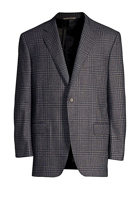 "Image of A well-cut plaid jacket made from 100% luxe wool. Notch lapels. Long sleeves. Button cuffs. Button front. Chest welt pocket. Waist flap pockets. Lined. Wool. Dry clean. Made in Italy. SIZE & FIT. Classic fit. About 30"" from shoulder to hem."