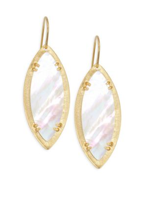 STEPHANIE KANTIS Leaf Mother-Of-Pearl Earrings in Yellow Gold