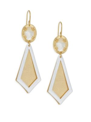 STEPHANIE KANTIS Ego Two-Tone Brushed Goldplated & Mother-Of-Pearl Earrings in Yellow Gold