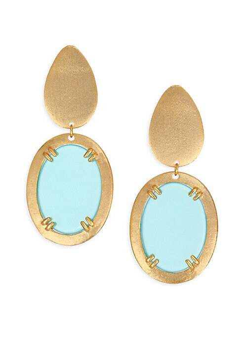 "Image of Striking aqua glass centers distinctive drop earrings.18K yellow gold-plated bronze. Glass. Length, about 1.5"".Post back. Imported."