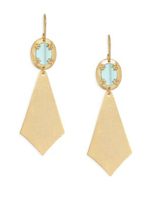 STEPHANIE KANTIS Ego Brushed Gold & Glass Earrings in Yellow Gold