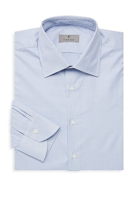 "Image of A subtle geo print updates this classic dress shirt cut from Italian cotton. Spread collar. Long sleeves. Buttoned barrel cuffs. Button front. Shirttail hem. Cotton. Machine wash. Made in Italy. SIZE & FIT. Modern fit. About 29"" from shoulder to hem."