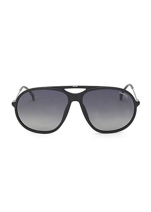 Image of From the Saks IT LIST. UTILITY. Give off-duty style an on-duty function with the latest military-inspired pieces. Must-have sunglasses with tortoise temple edging.140mm temple length, 60 lens width, 15 bridge width.100% UV protection. Saddle nose bridge.