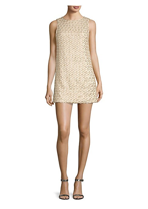 """Image of Crochet design accentuate billowy shift dress. Jewelneck. Sleeveless. Back zip closure. About 35"""" from shoulder to hem. Shell/lining: Polyester/elastane. Dry clean. Imported. Model shown is 5'10"""" (177cm) wearing US size 4."""