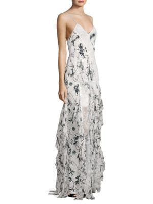 Jayda Lace-Trimmed Ruffled Floral-Print Silk Crepe De Chine Maxi Dress in Floral Crown