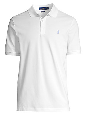 "Image of Classic cotton-blend polo shirt with logo embroidery Polo collar Short sleeves Three-button front Pullover style About 29"" from shoulder to hem Cotton/elastane Machine wash Imported. Men Luxury Coll - Polo Blue Label. Polo Ralph Lauren. Color: White. Size"