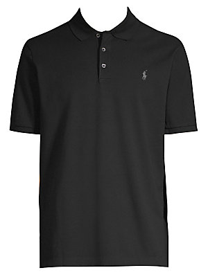 "Image of Classic cotton-blend polo shirt with logo embroidery Polo collar Short sleeves Three-button front Pullover style About 29"" from shoulder to hem Cotton/elastane Machine wash Imported. Men Luxury Coll - Polo Blue Label. Polo Ralph Lauren. Color: Black. Size"