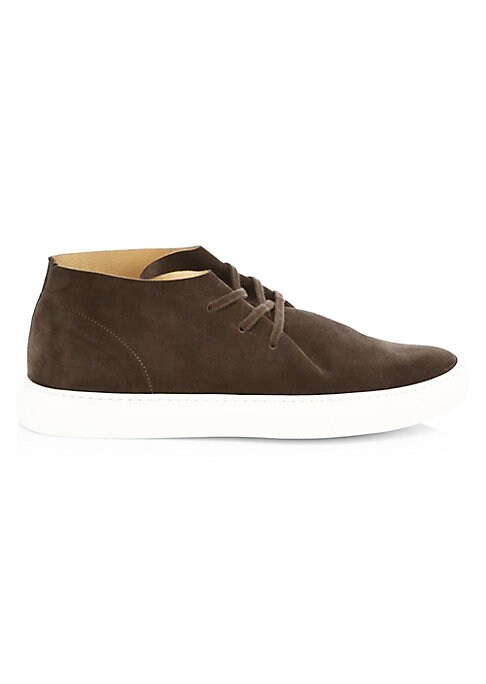 Image of On-trend suede ankle sneakers with contrasting flexible sole. Rubber heel. Suede and leather upper. Round toe. Lace-up vamp. Leather lining. Rubber sole. Made in Italy.