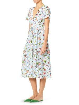 V-Neck Flutter-Sleeve Floral-Print Silk Midi Dress in Blue