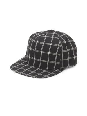 Gents Flat-Brim Check-Print Baseball Cap In Black  34af8ce1b4a