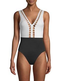 f8557109f35f6 OYE Swimwear. Ela Plunging Back One-Piece Swimsuit