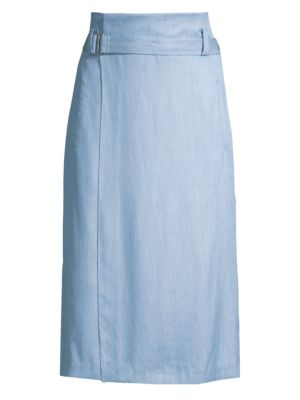 Chambray Drape Wrap Skirt by Tibi