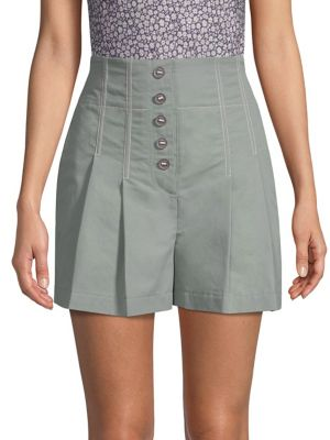Pleated High-Waist Button-Up Shorts in Dark Sage