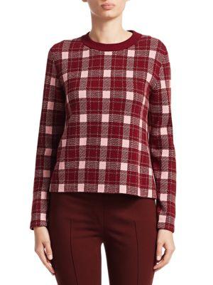 Crewneck Long-Sleeve Check Cashmere-Blend Sweater, Blush Rose