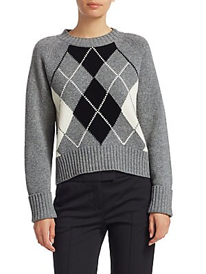 """Image of A fitted plaid sweater accented by wide-ribbed trim. Roundneck Long sleeves Ribbed neck, cuffs and hem Pullover style Wool/cashmere Dry clean Imported SIZE & FIT About 22"""" from shoulder to hem Model shown is 5'10 (177cm) wearing US size 4. Designer Lifest"""