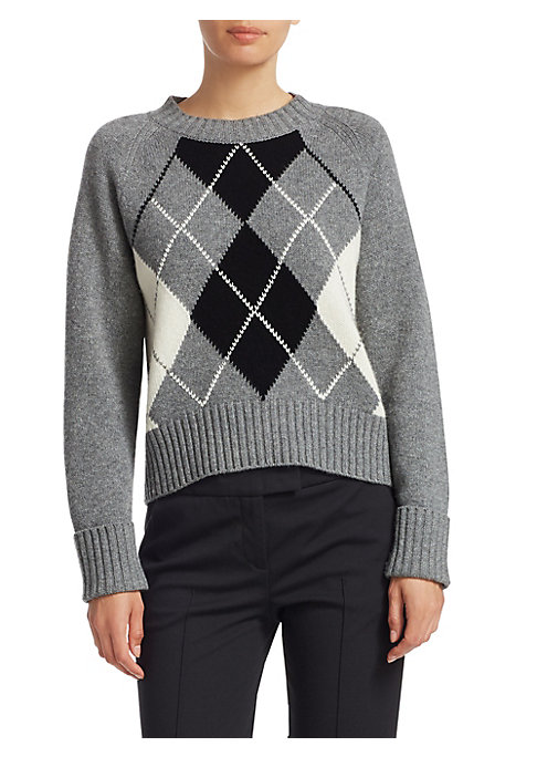 "Image of A fitted plaid sweater accented by wide-ribbed trim. Roundneck. Long sleeves. Ribbed neck, cuffs and hem. Pullover style. Wool/cashmere. Dry clean. Imported. SIZE & FIT. About 22"" from shoulder to hem. Model shown is 5'10"" (177cm) wearing US size 4."