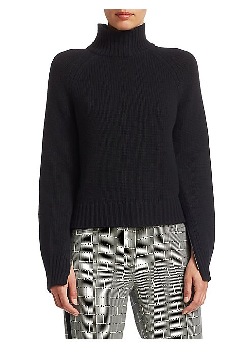 Image of EXCLUSIVELY AT SAKS FIFTH AVENUE. Classic wool-cashmere blend knit sweater with a ribbed turtleneck and statement zip-up sleeves. Turtleneck. Long sip-up sleeves. Pull-over style. Rib-knit. Cable knit trim. Wool/cashmere/viscose. Dry clean. Imported. SIZE