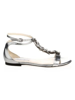 Women'S Averie Embellished Leather T-Strap Sandals in Silver
