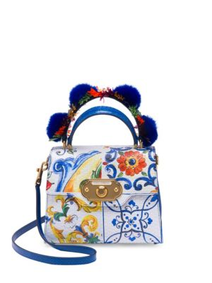 Welcome Medium Painted Leather Top-Handle Bag With Fur in Majolica Print