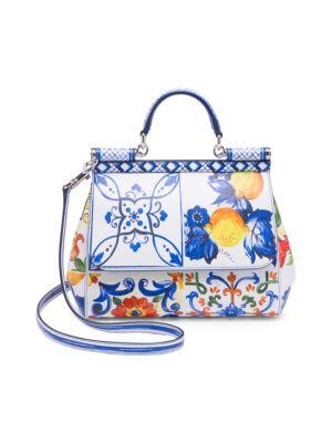 Medium Sicily Bag In Printed Dauphine Calfskin, Multi