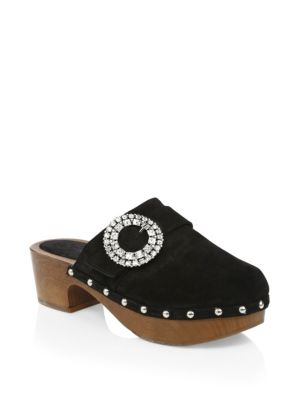 Doralie 55 Embellished Suede Clogs in Black