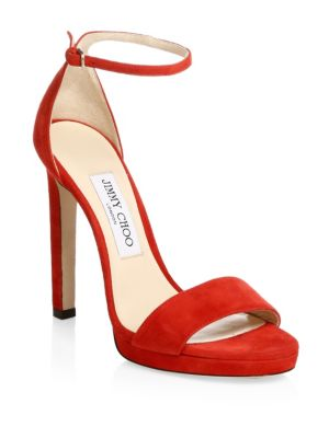 Women'S Misty 120 Suede High-Heel Platform Sandals, Red